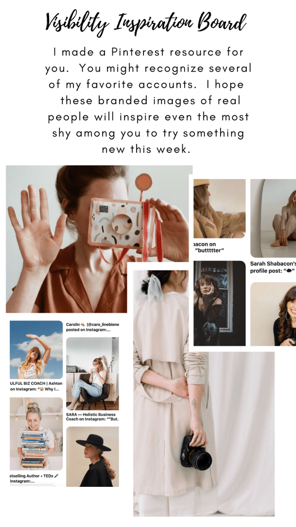 Brand Visibility Mood Board on Pinterest.  Inspiration images for your photos.