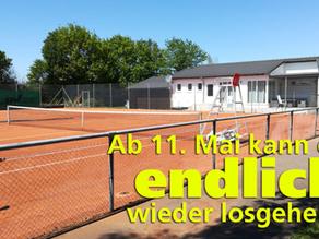 Ab 11. Mai sind die Tennisplätze wieder nutzbar