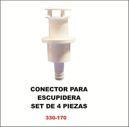 Conector para escupidera set de 4 piezas