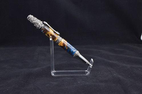 Pewter Victorian Twist Pen - Blue/Copper/Wood Hybrid