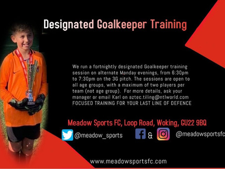 Goalkeeper Training Monday 13th May 6:30pm to 7:30pm