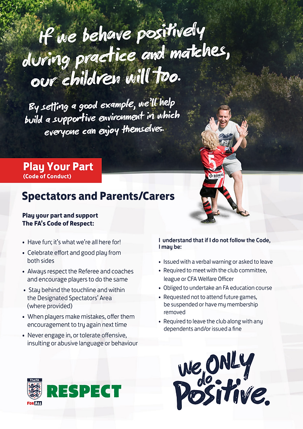 Code of conduct spectators parent carers