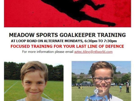 Goalkeeper Training, Monday 11th March, 6:30pm to 7:30pm.