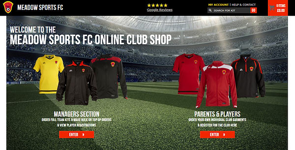 Meadow Sports FC Online Shop home page.p
