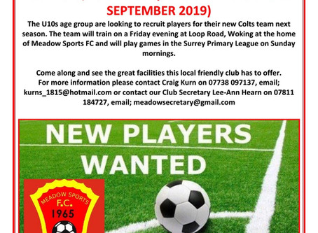 NEW PLAYERS NEEDED FOR U10s TEAM