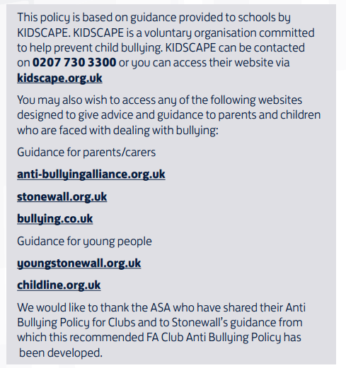 Guidance links for dealing with bullying