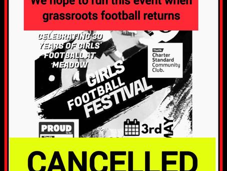 Girls Football Festival cancelled