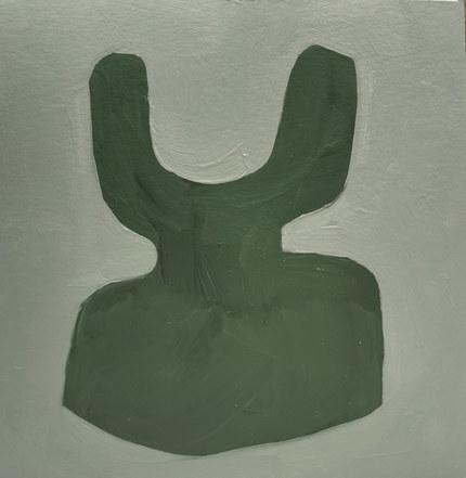 Le jardin fertile 51, 2020, huile sur papier, 11x11 cm