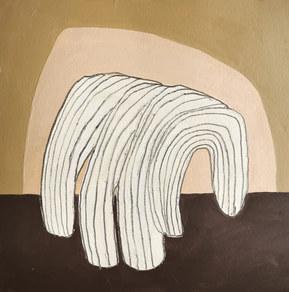 Paysages intérieurs 7, 2020, huile sur papier, 22x22 cm