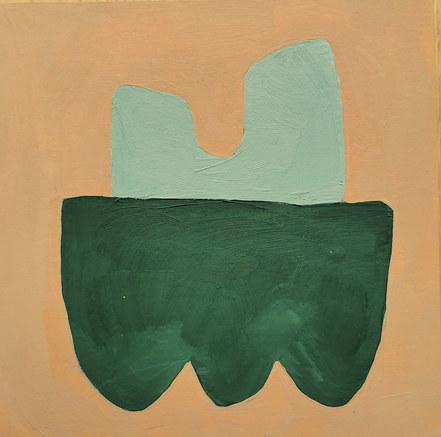 Le jardin fertile 81, 2020, huile sur papier, 11x11 cm