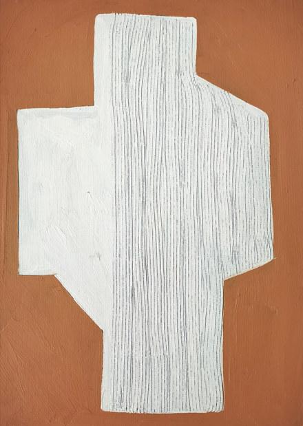 Blanc labyrinthique, 2020, huile sur toile, 24x33 cm  COLLECTION PRIVEE