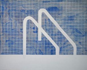 Blue pool, 2020, acrylique sur toile, 81x65 cm