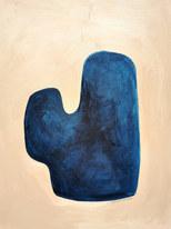 Blue cactus, 2020, huile sur papier, 30x40 cm // COLLECTION PRIVÉE