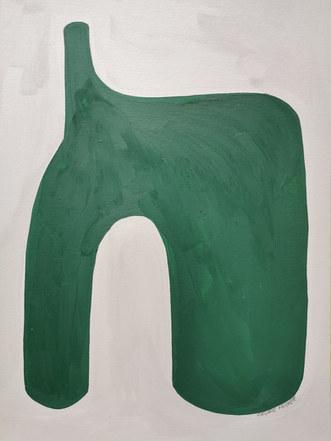 Green empire, 2020, huile sur papier, 30x40 cm
