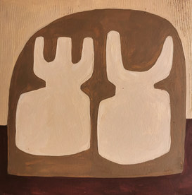 Paysages intérieurs 14, 2020, huile sur papier, 22x22 cm