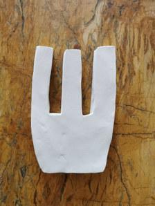 Forme fertile (petite) #11, juillet 2020, faience blanche, 15x10 cm, Virginie Hucher