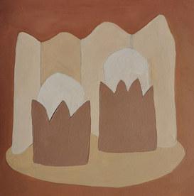 Paysages intérieurs 16, 2020, huile sur papier, 22x22 cm