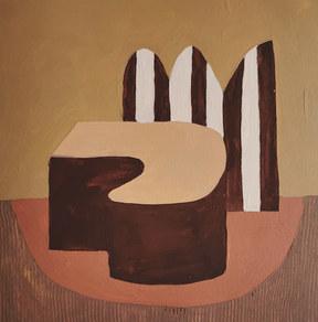 Paysages intérieurs 18, 2020, huile sur papier, 22x22 cm