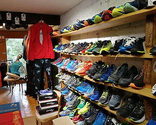Jogging selection in Andy's Sportladen Shop in Allschwil