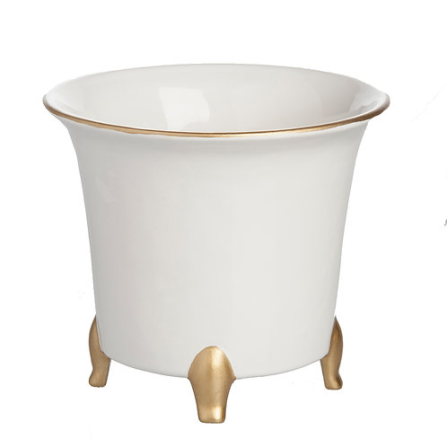 Cachepot White & Gold, SMALL