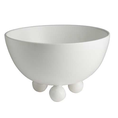 Catalina Footed Bowl, Matte White, White Feet