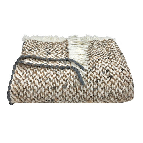 Chunky Camel Weave Alpaca Throw