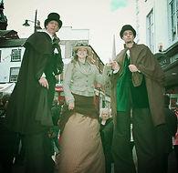 Christmas themed Entertainment, The Victorians, stilt walkers, stilt walking, Earthbound Misfits, Lincolnshire