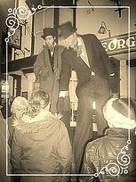 Christmas themed Entertainment Bah Humbug stilt walkers, stilt walking, Street theater Lincolnshire Earthbound Misfits