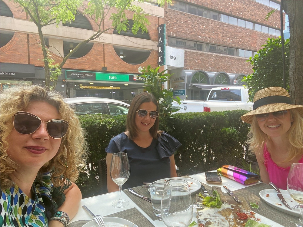 Friends having lunch at One Restaurant in Yorkville