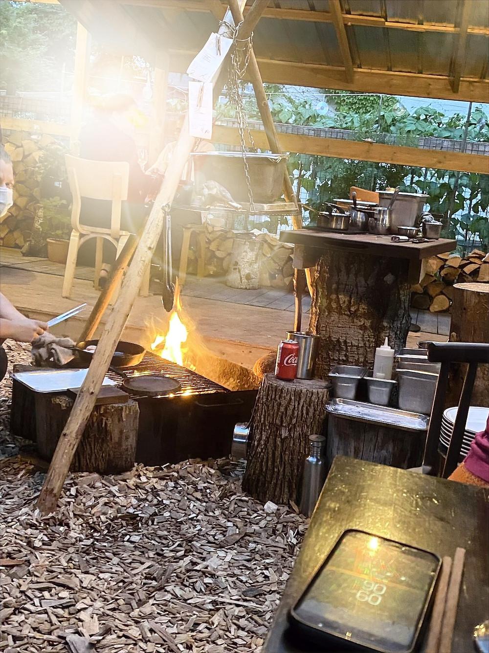 Wood fire pit at Actinolite Restaurant