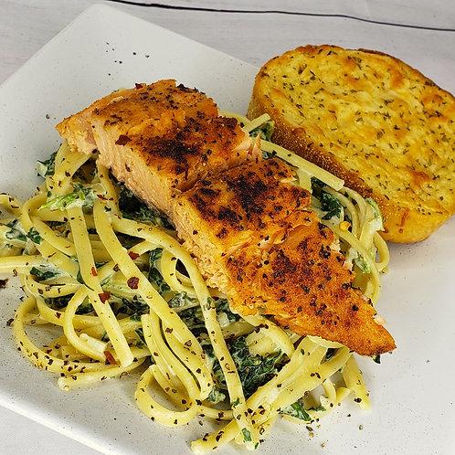 White Wine Salmon Alfredo w/ Broccoli