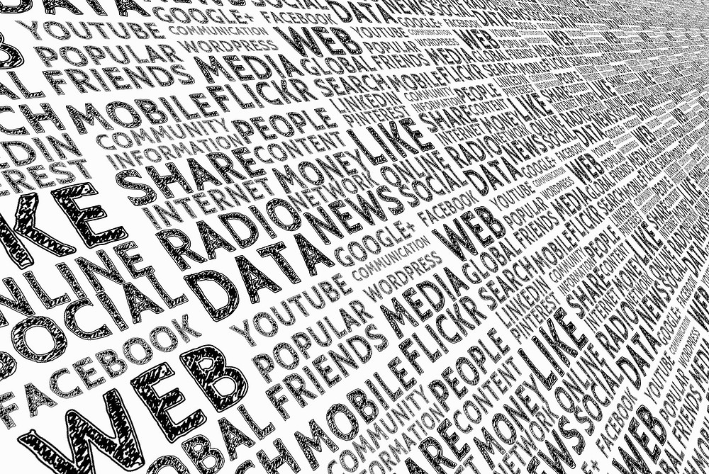 Word Map of various media words such as facebook, web, radio, share, flickr, etc.
