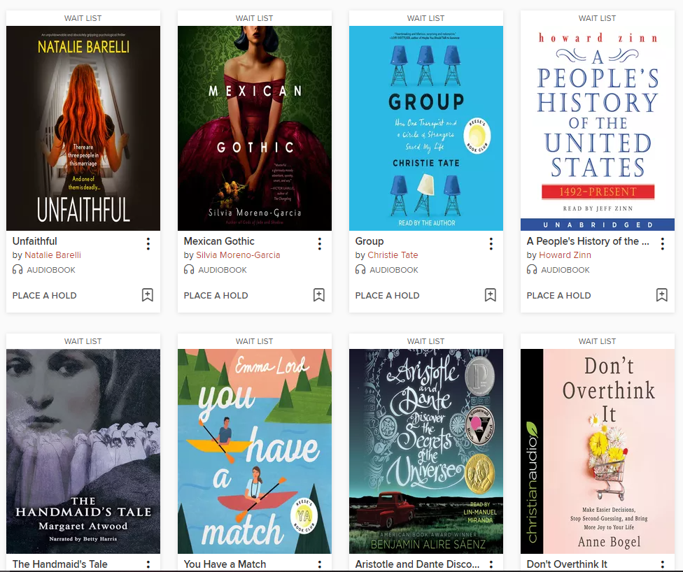 image of current e-audiobooks available for checkout