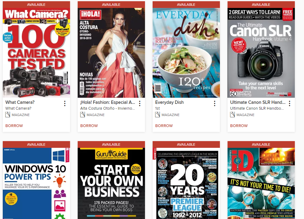 image of current e-magazines available for checkout