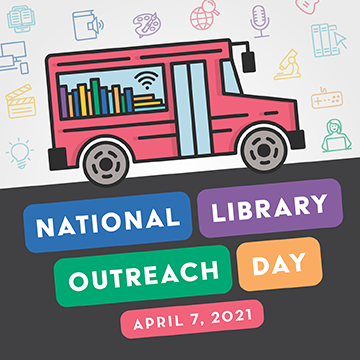 """graphic with an image of a bookmobile and the words """"National Library Outreach Day"""""""