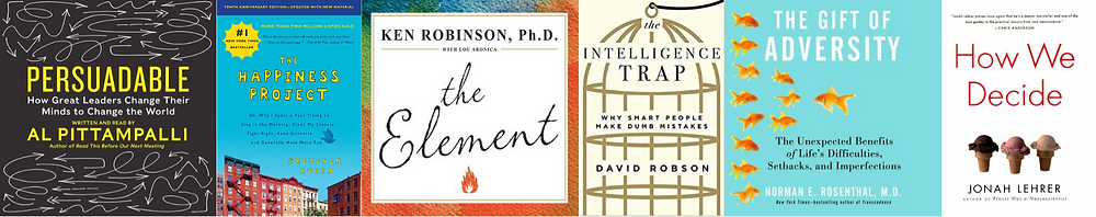 Six book covers featuring books titles on change