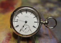 American Waltham - PS Bartlett Silverine Engraved Open Face Case - 11 Jewels - 18 Size - Pocket Watch - (circa 1881)