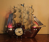 Electric Masked Ship Clock with Lighted - Deck and Port Holes - (circa 1940s)