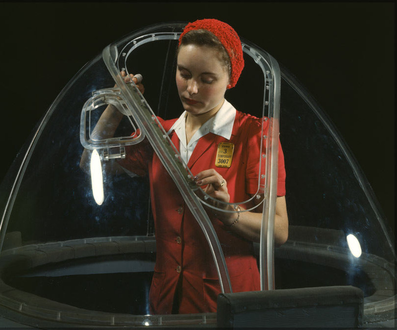 Rosie The Riveter Works On B-17 Flying Fortress