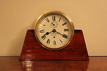 Prescot Clock Company - Large Brass Bulkhead Ships Clock 8-Day Movement - (circa 1900)