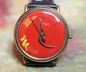 RAKETA (Rocket) - Blood Red Hammer and Sickle USSR - Wristwatch - (circa 1980s)