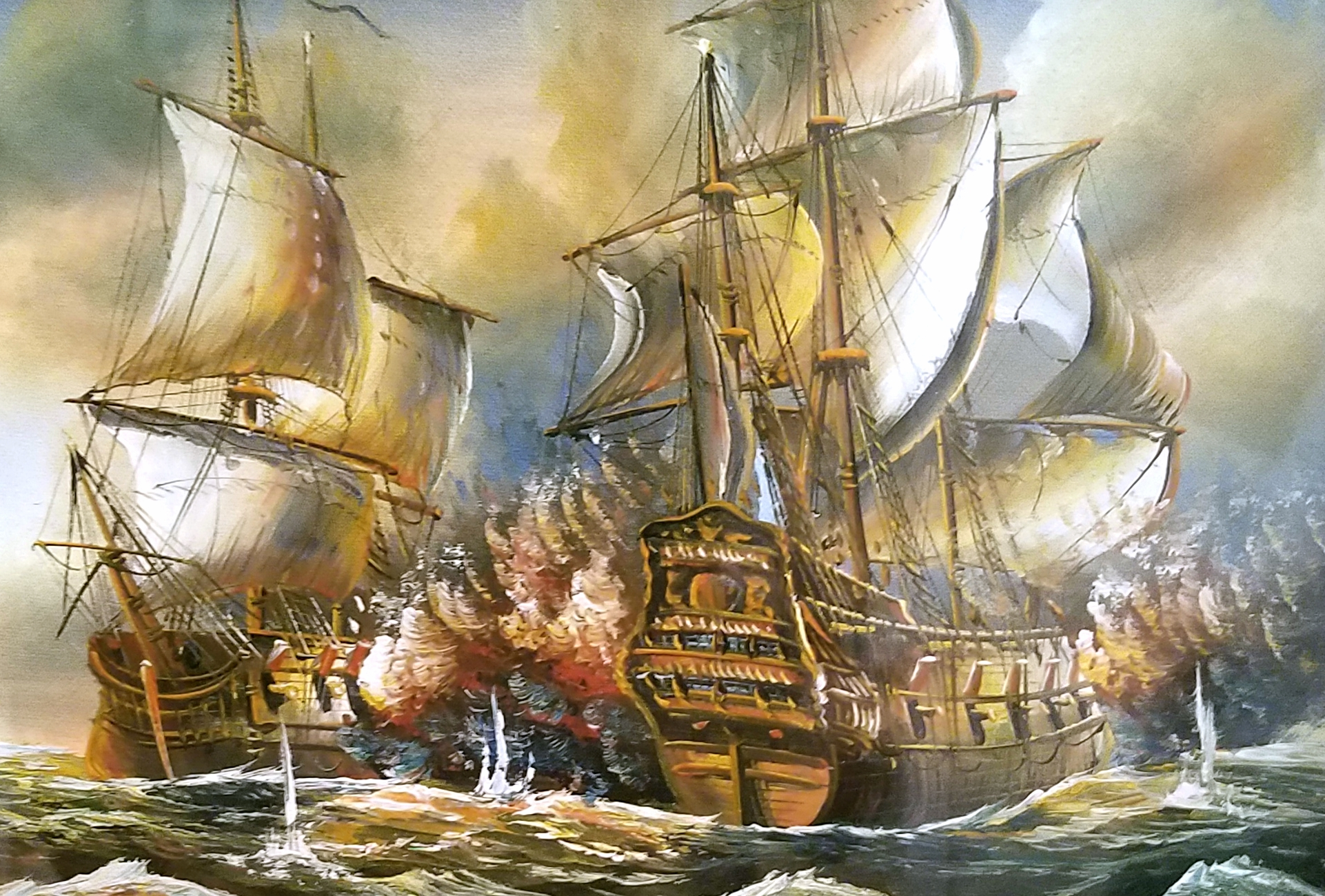 Tall Wood Masked Ships Engaged in Battle