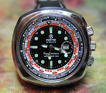 Mortima - World Timer - 2 Rotating Discs - 3 Crowns - 21 Jewel Automatic Mechanical Movement Wristwatch - (circa 1970s)