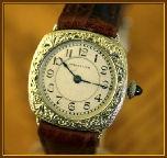 "Hamilton - ""Cushion Model - Engraved"" Scarce Art Deco-Era with Wire Lugs – 17 Jewel Mechanical Movement Wristwatch - (circa 1926)"