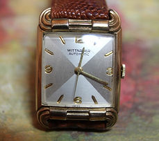 Wittnauer - Quad Dial (Silver Shades) - 10K Gold Filled Tank Case with Ornate Rams Horn Lugs - Quality 17 Jewel Automatic Movement Wristwatch - (circa 1950s)
