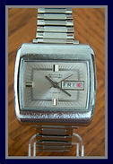 American Heritage -  Retro-Mod Designed Dial with a Square Silver Brush Finished Case and 17 Jewels - Wristwatch - (circa 1970s)