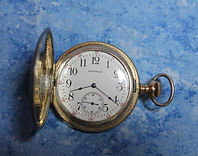 American Waltham - 16 Size - Sterling Silver Hunters Case with Ornate Yellow and Gold Inlays -  Pocket Watch - (circa 1908)
