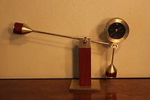 Balance and Fulcrum Clock - Brass and Cherry Wood by Seiko - (circa 2000s)