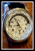 Trias - Large Sophisticated all Stainless Steel World Timer - 24 Hour Dial - Power Reserve Indicator - 21 Jewel Automatic Movement Wristwatch  - (circa 2000s)