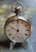 American Waltham - RE Robbins - Coin Silver Open Face Case - 18 Size - 13j - Stem Wind and Lever Set - Pocket Watch -(circa 1885)